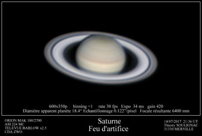 Saturne feu d'artifice