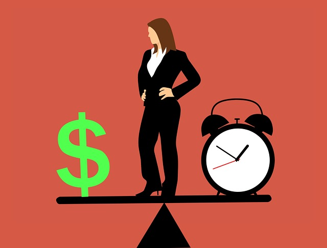 Business woman balances money with time