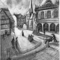 Rathaus und Unser Lieben Frauen Kirche damals