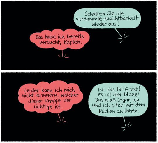 Das unsichtbare Raumschiff, Kibitz Verlag, Ausschnitt Seite 9