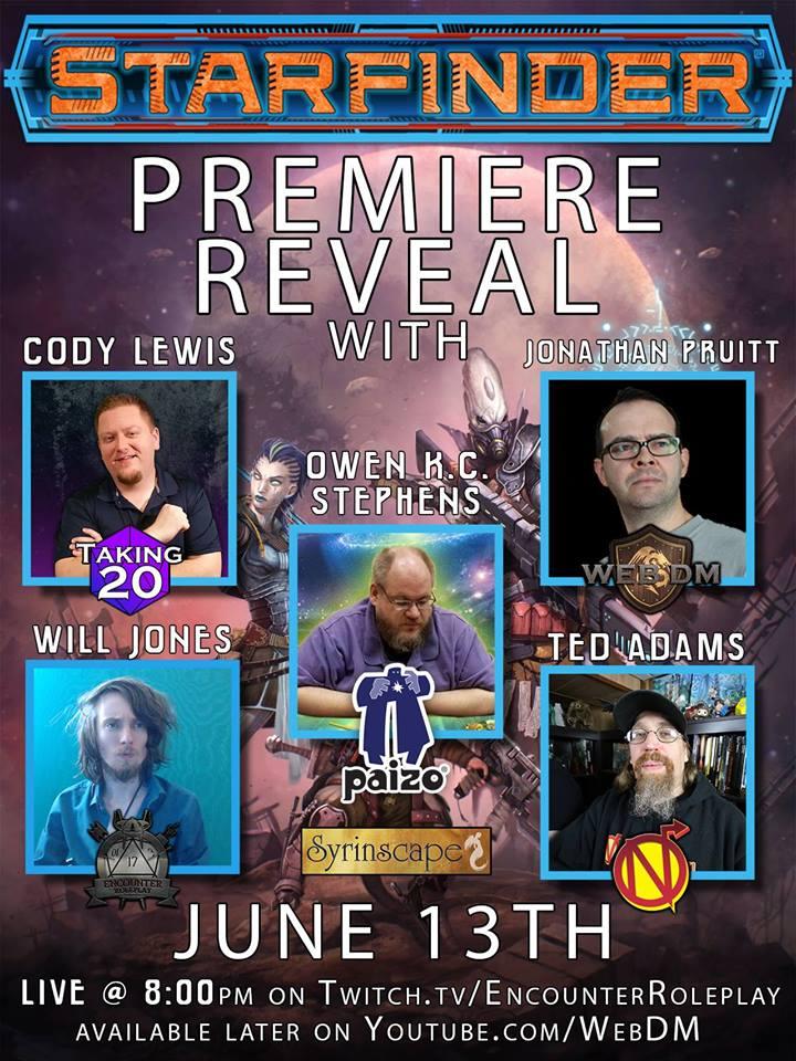 Starfinder Twitch premiere reveal event June 13!