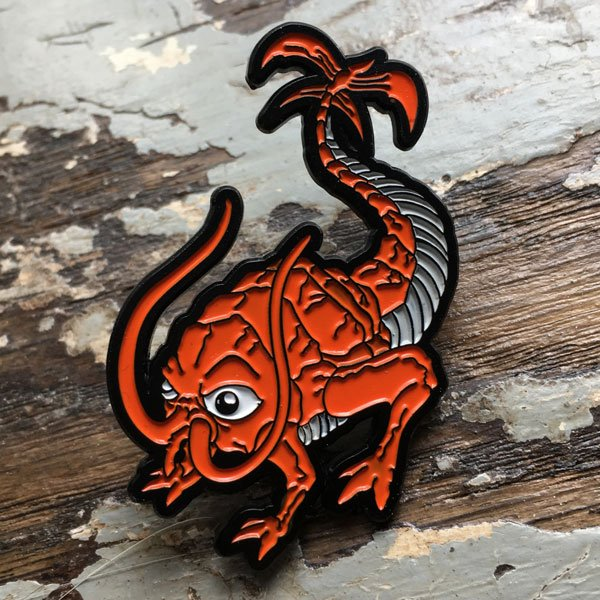 rust monster enamel pin