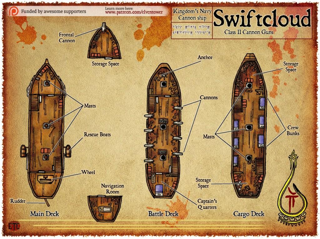 Elven Tower map ship D&D