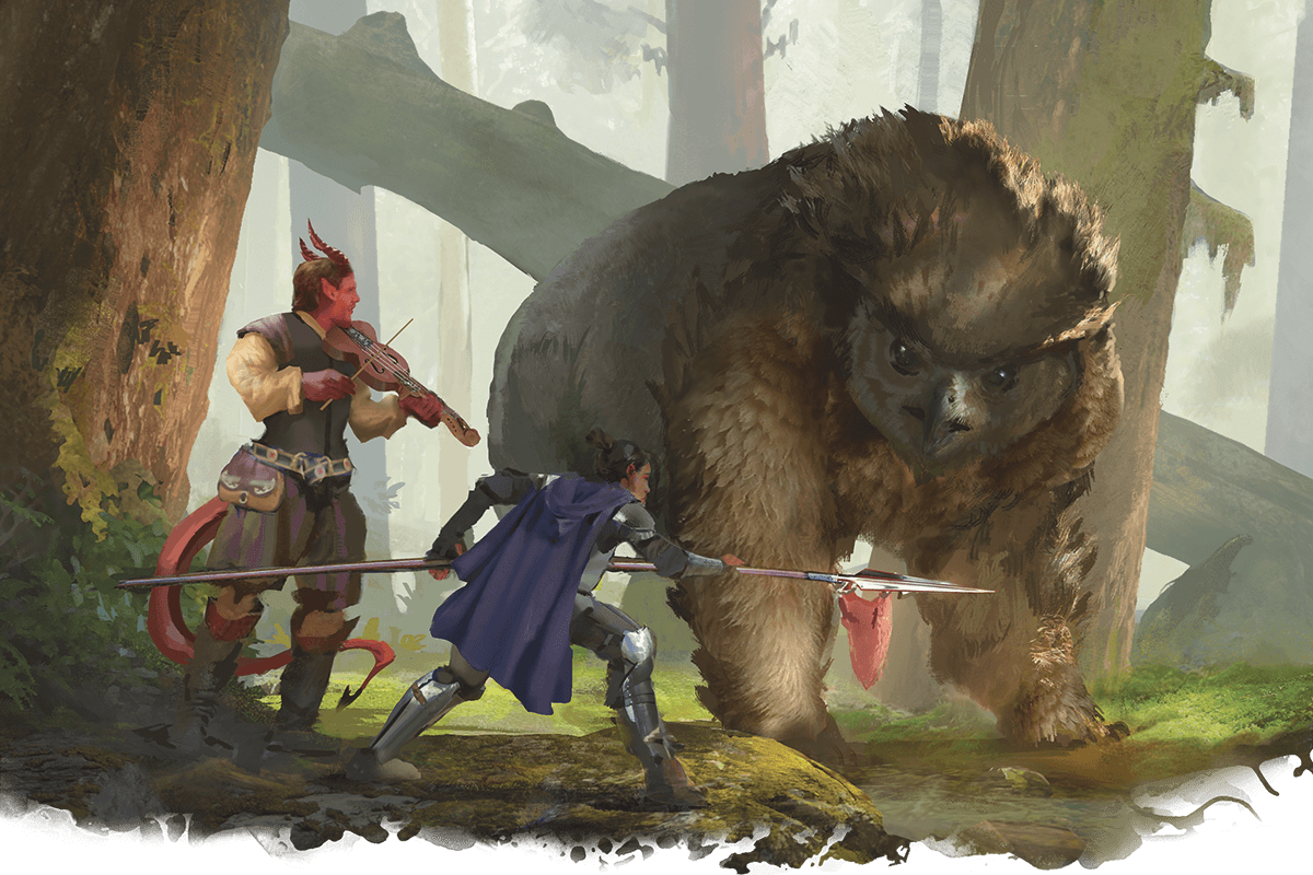 ADVENTURERS OFFER MEAT TO AN OWLBEAR. tasha's cauldron of everything parleying with monsters owlbear 5E D&D