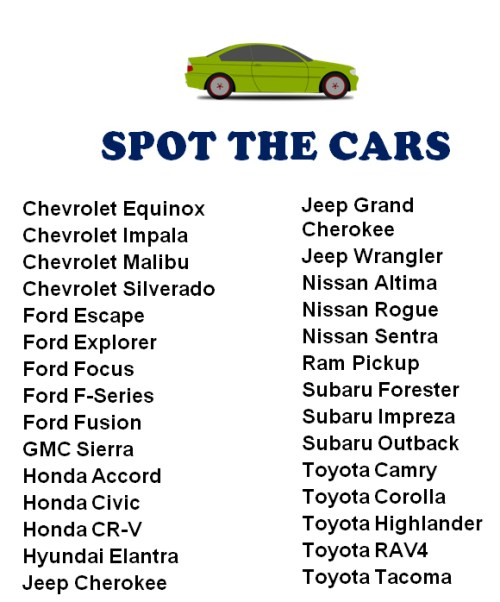 Printable Spot The Cars Game