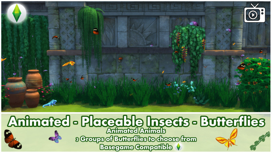 Animated Placable Insects Jungle Butterflies