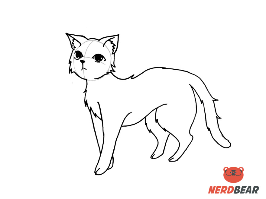 How To Draw A Standing Anime Cat 14