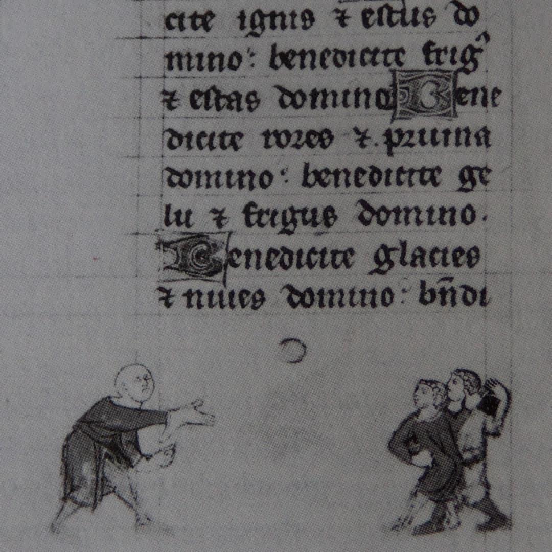 """Avuç içi oyununa (fr. """"Jeu de Paume"""") ait en eski çizim. c.1300"""