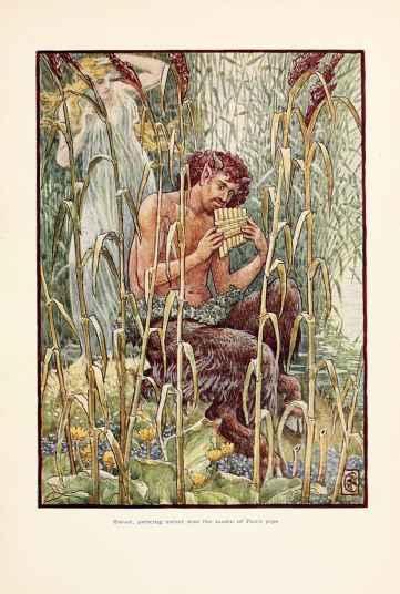 Kırlarda gezip neşeli neşeli flüt çalan; keyif düşkünü, keçi boynuzlu Yunan tanrısı Pan. (görsel: Walter Crane, Wikipedia)