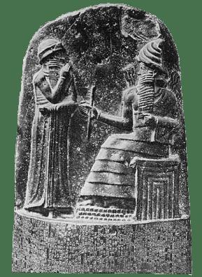 Teşrin ayının sembolü, Güneş tanrısı Şamaş, huzuruna çıkmış Babil Kralı Hammurabi'ye hükümdarlık bahşederken. (Hammurabi Kanunları'nın yazılı olduğu dikilitaşın tepesi, Wikipedia)