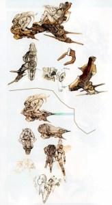 Concept Art della moto volante di Fran, uno dei protagonisti di FFXII