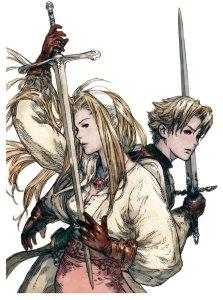 Illustrazione promozionale per Tactics Ogre: Let Us Cling Toghter con due dei personaggi chiave del gioco.