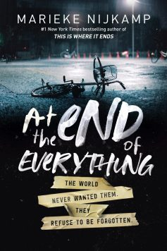 A bicycle on the ground on the cover of At the End of Everything