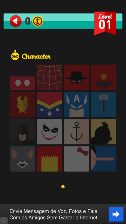 Menu de icones de um dos leves de personagens