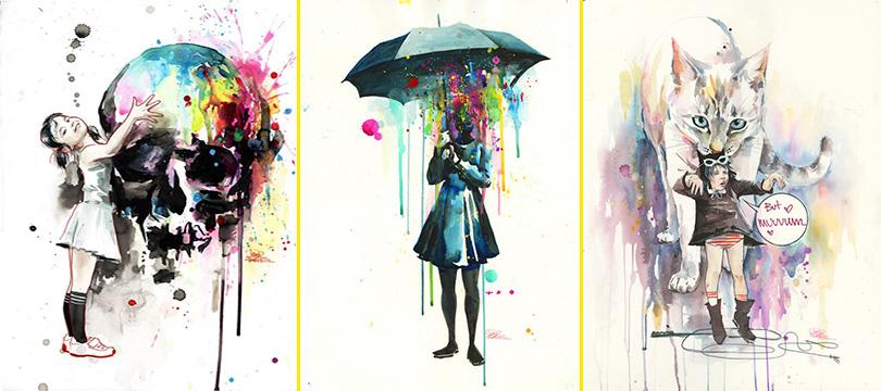 As vívidas aquarelas de Lora Zombie