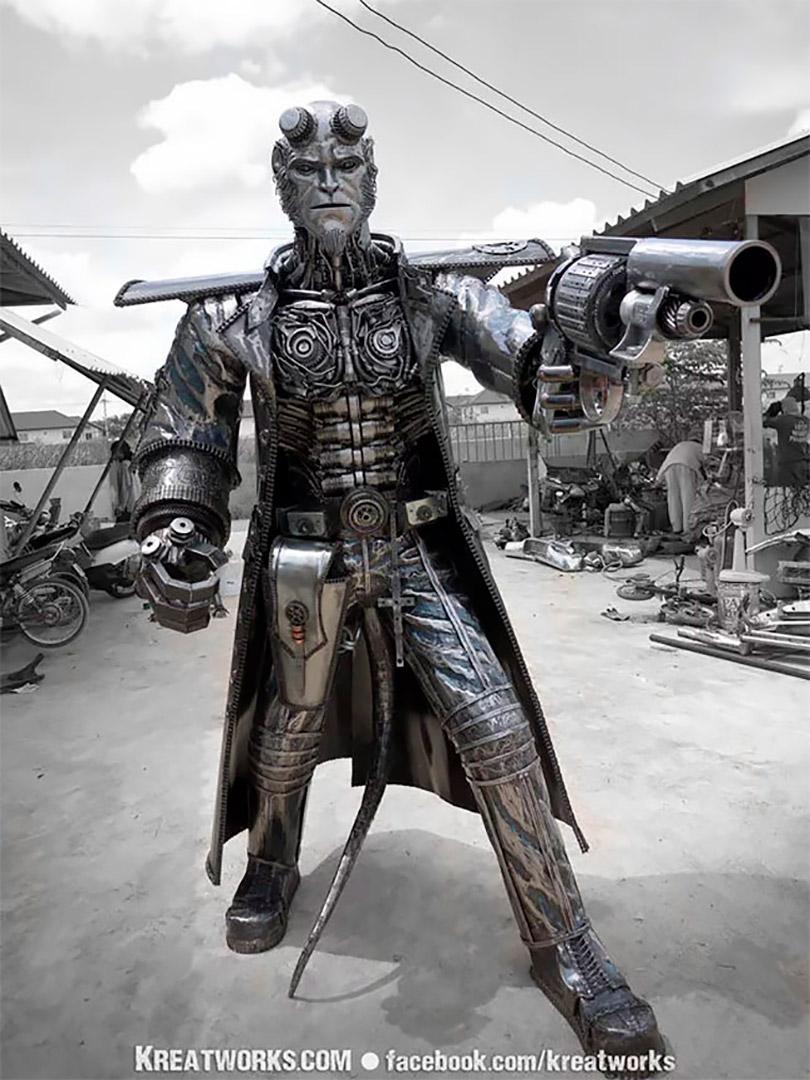 Artistas recriam personagens famosos com ferro reciclado