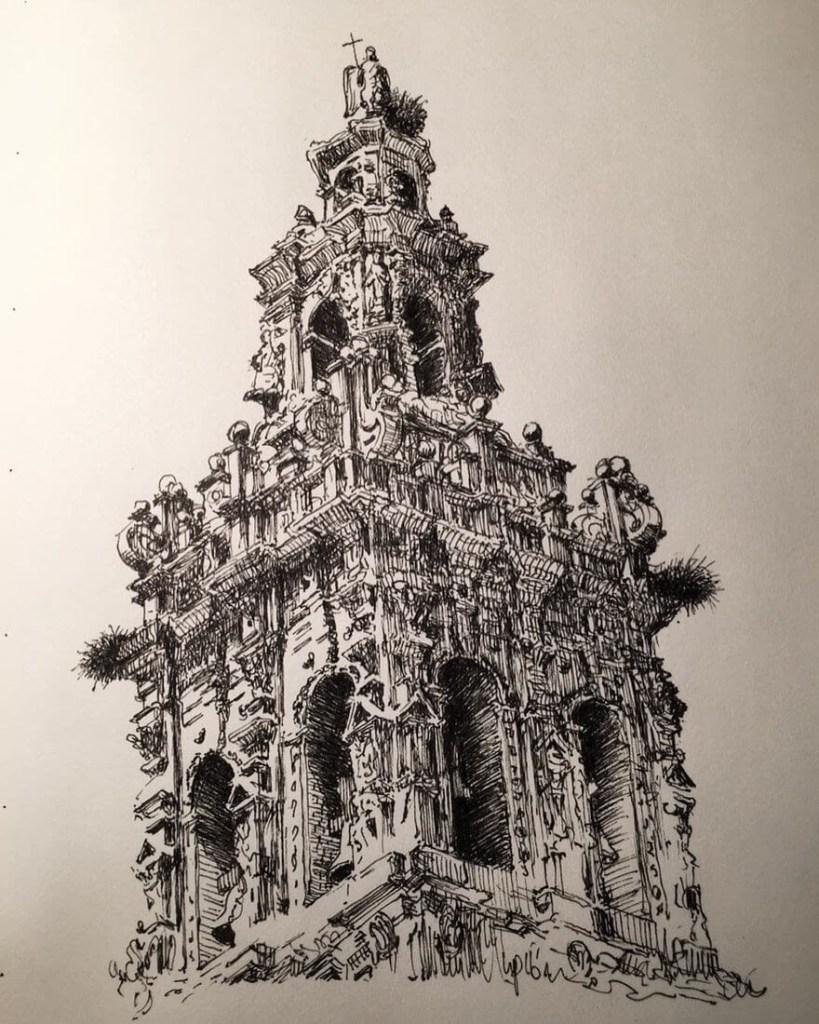 Arquitetura no caderno na arte de Mark Poulier