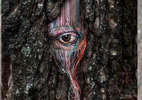 Artista cria lindos padrões bordados em árvores