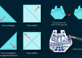 Como fazer um origami da Millenium Falcon