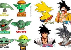 Personagens em diversos estilos de desenhos