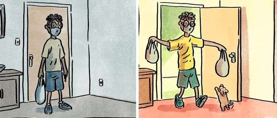 A vida com e sem um pet em ilustrações