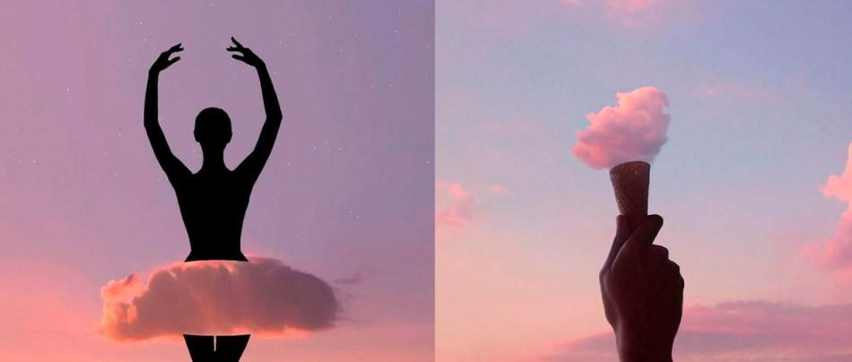 Silhuetas e nuvens coloridas formam artes surreais