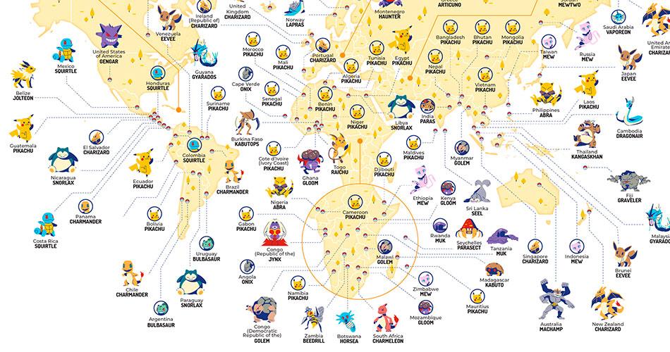 Veja qual o Pokémon mais buscado por cada país