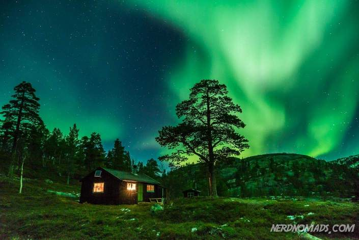 Northern Lights dancing over our cabin in Kvaenangen.
