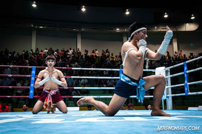 Thai boxers doing their pre-fight ritual called the Wai Kru Ram Muay