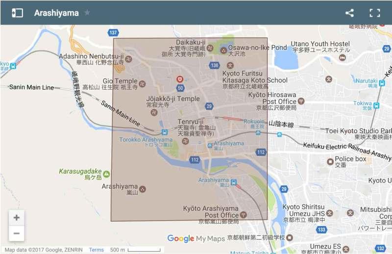 Arashiyama area map