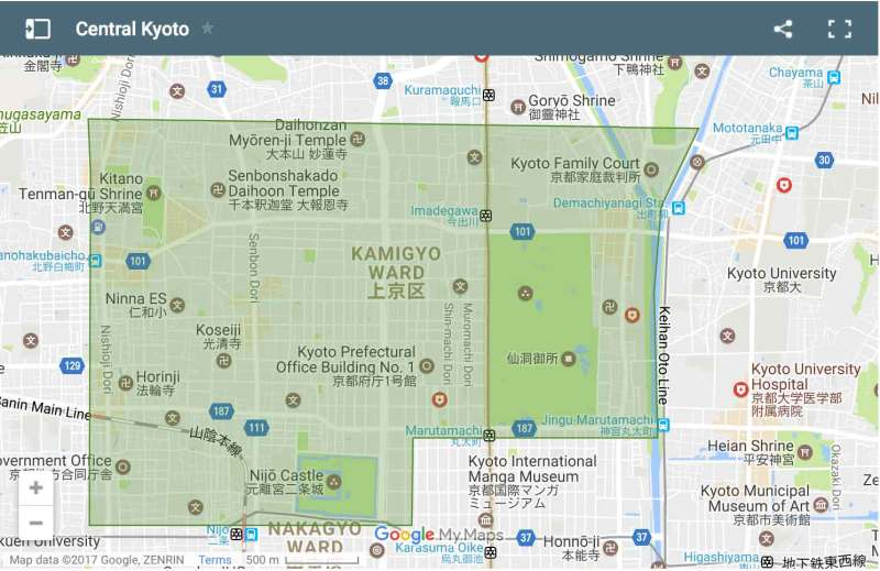 Central Kyoto area map