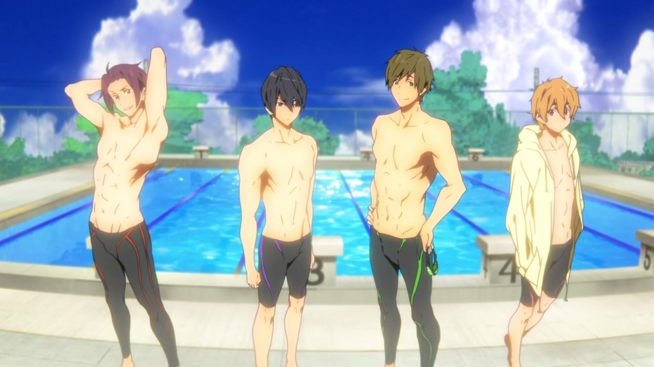 Free  Takes Fanservice to a New Level     Nerdophiles Four pretty swimmers