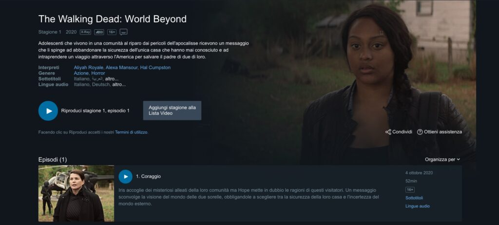 The Walking Dead: World Beyond 1x01 è disponibile alla visione su Amazon Prime Video