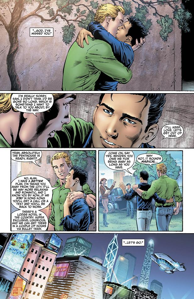 Alan Scott AKA Green Latern kisses his boyfriend