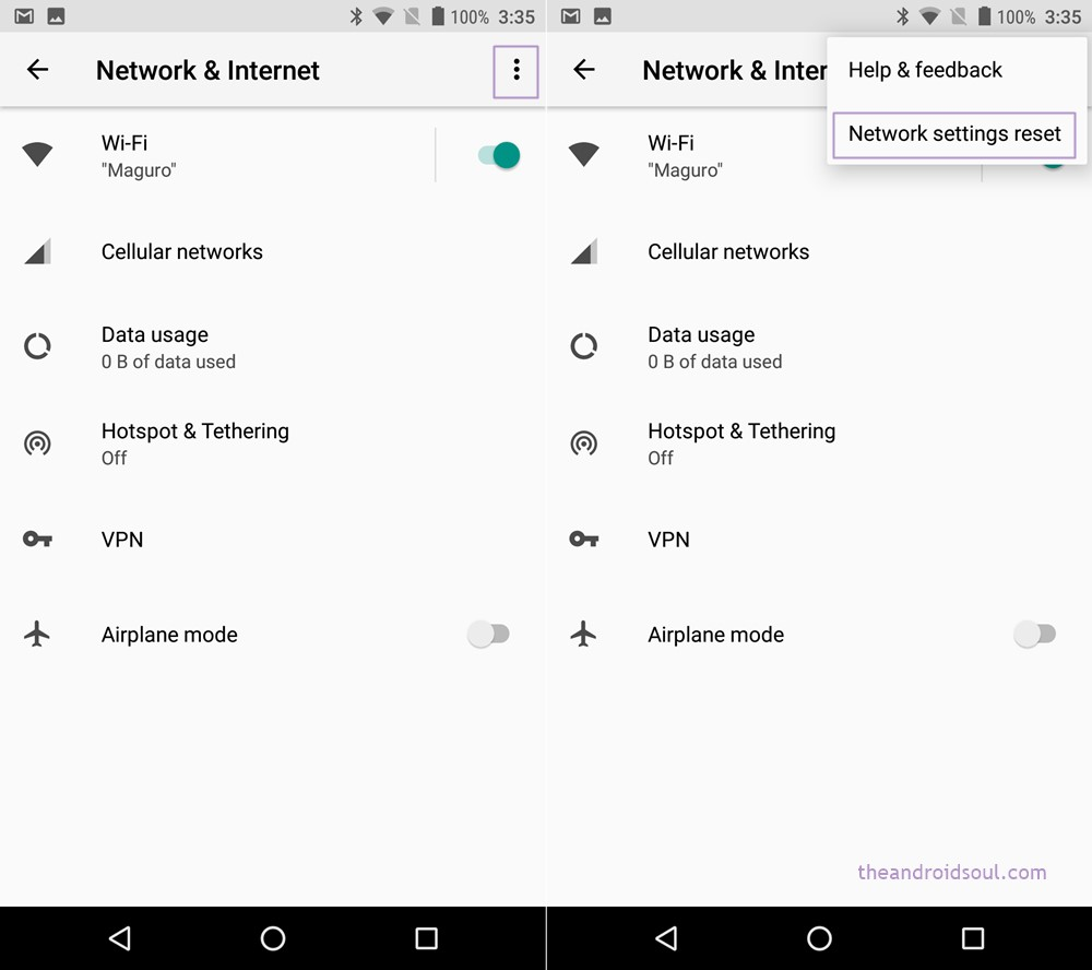 reset network settings Android O