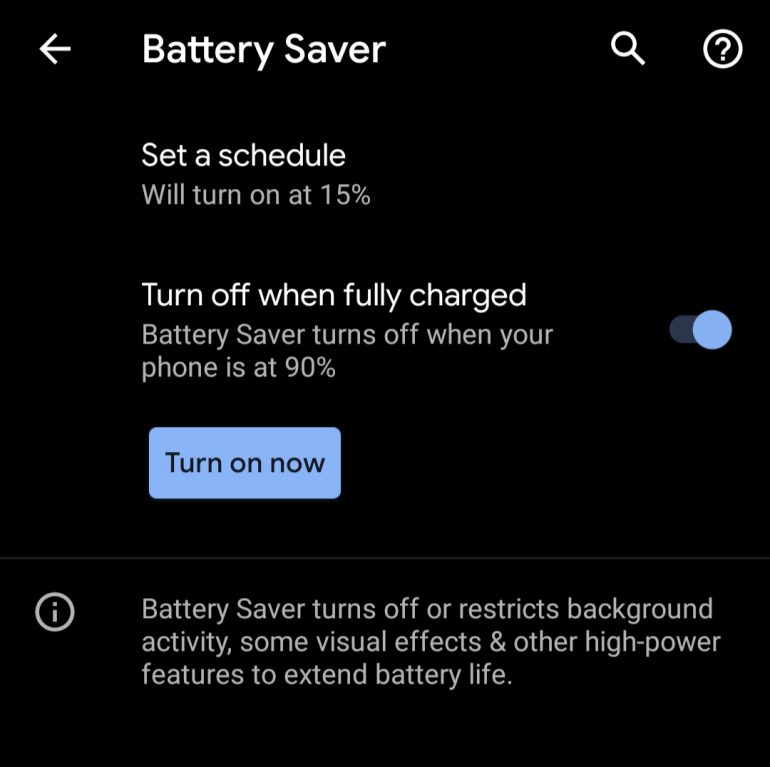 Battery Saver Turn off
