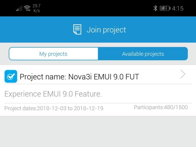 Nova 3i EMUI 9.0 beta with Android 9 Pie