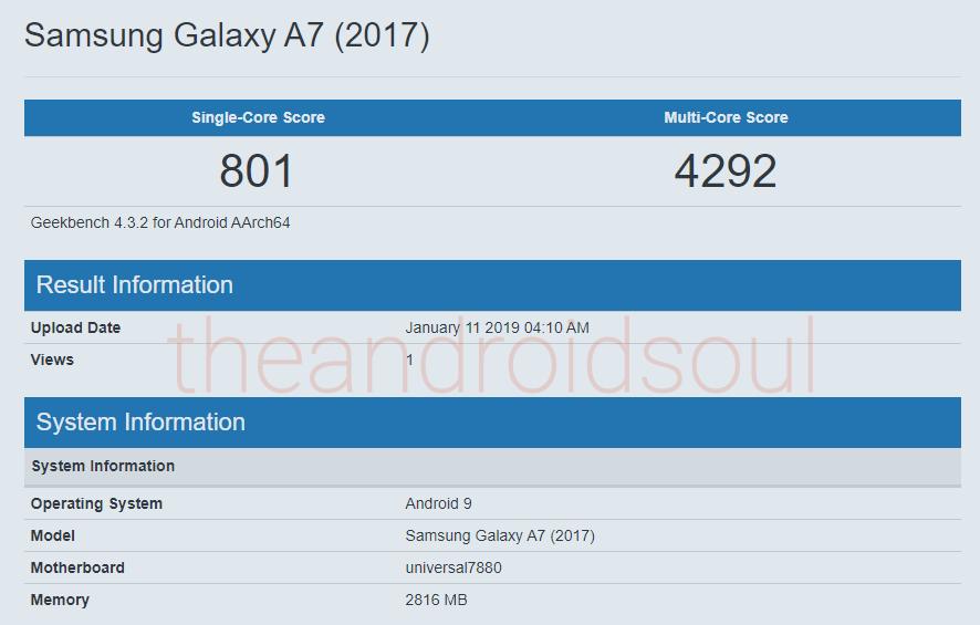 Galaxy A7 2017 Pie benchmark