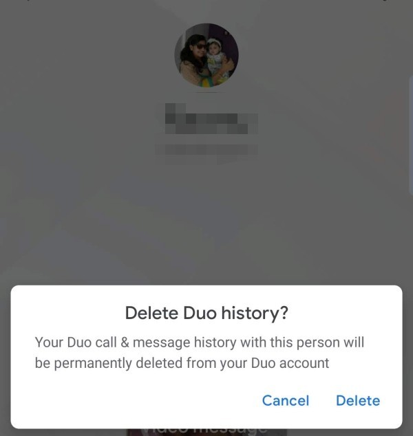 Delete Contact Call History Google Duo