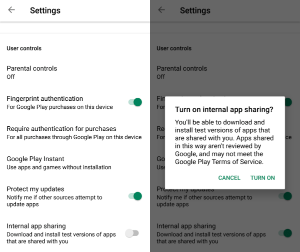 Google Play Store internal app sharing