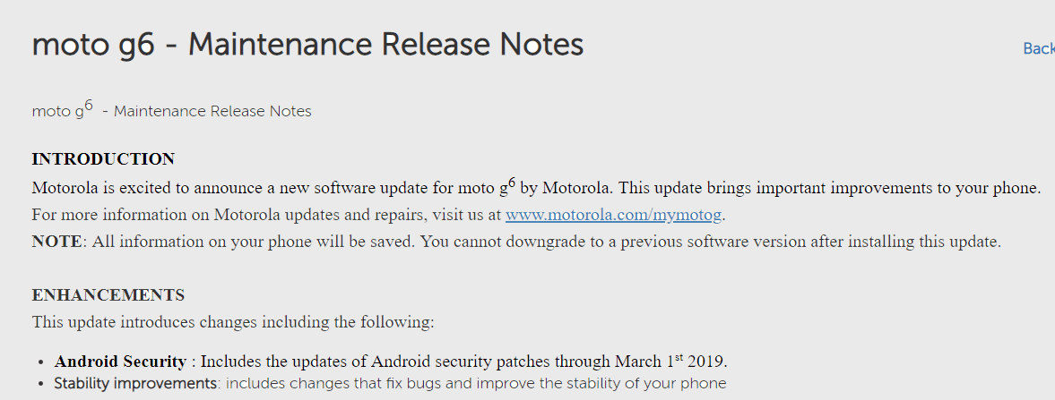 Moto G6 March patch