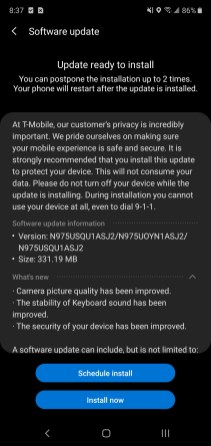 Note 10+ T-Mobile November update