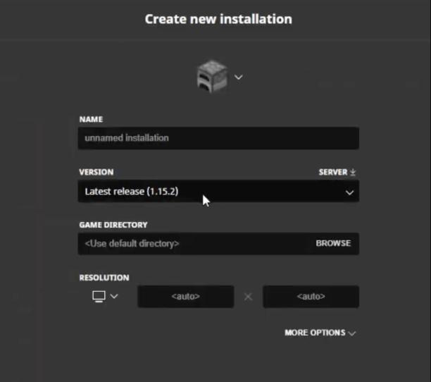 Minecraft's Create New Installation Prompt