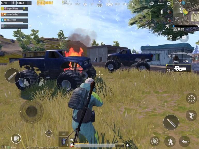 PUBG Mobile Monster Truck on flames