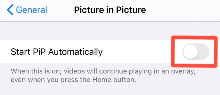 iPhone Picture in Picture disabled