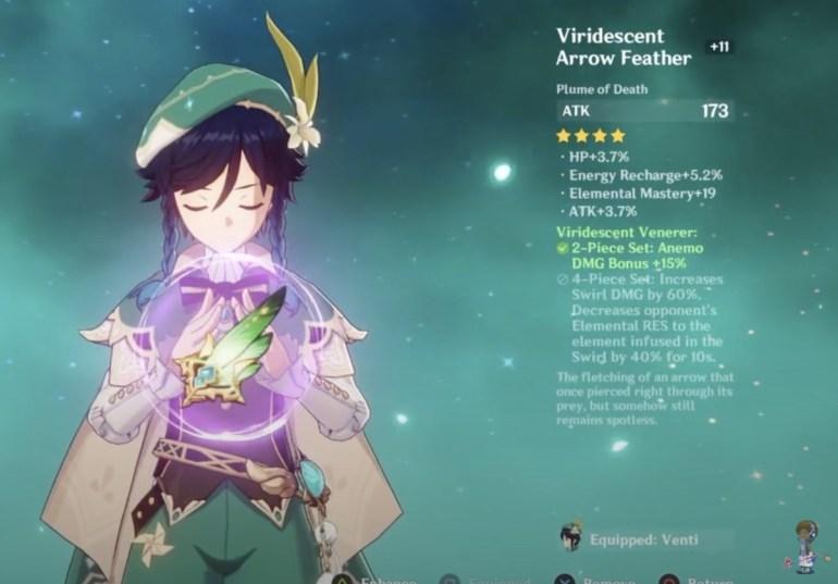 Genshin Impact Venti Build Viridescent Venerer Feather