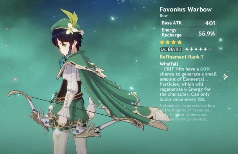 Venti Build Genshin Impact Favonius Warbow
