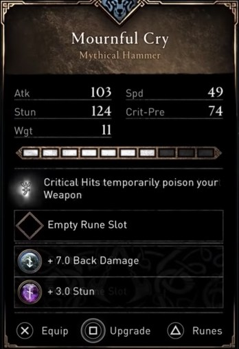 AC Valhalla Best Weapons - Mournful Cry Stats