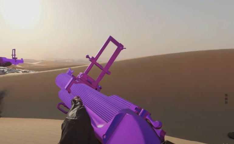 Black Ops Cold War Zombies Launcher Camo Challenges - Screenshot showing plague diamond launcher camo in desert