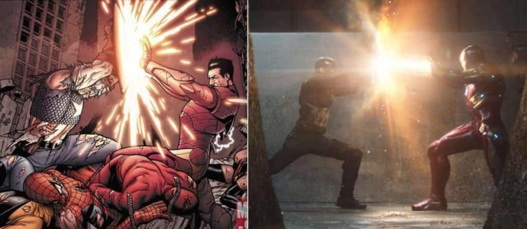 Captain America civil war comic and movie comparison